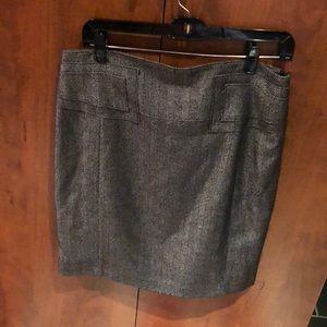 Herringbone pencil skirt.